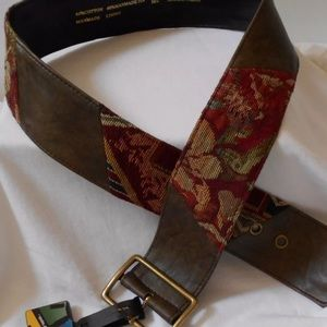 NO BOUNDARIES M/L RUST OLIVE TAPESTRY BELT WIDE
